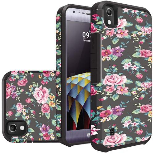 LG Tribute HD Case, Rubberized Slim Dual layer Hybrid Hard Case on TPU Case [Tropical Romantic Colorful Roses]