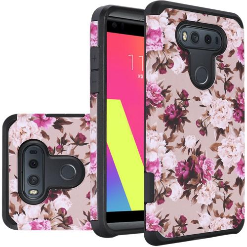 LG V20 Case, Rubberized Slim Dual layer Hybrid Hard Case on TPU Case [Pink White Roses Floral]