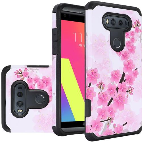 LG V20 Case, Rubberized Slim Dual layer Hybrid Hard Case on TPU Case [Sakura Cherry Blossom]