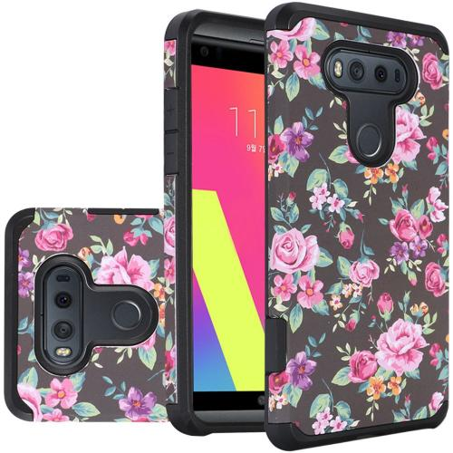 LG V20 Case, Rubberized Slim Dual layer Hybrid Hard Case on TPU Case [Tropical Romantic Colorful Roses]