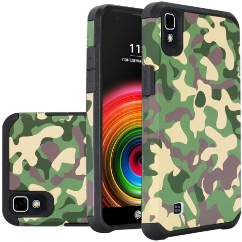 LG X Power Case, Rubberized Slim Dual layer Hybrid Hard Case on TPU Case [Camouflage Green]