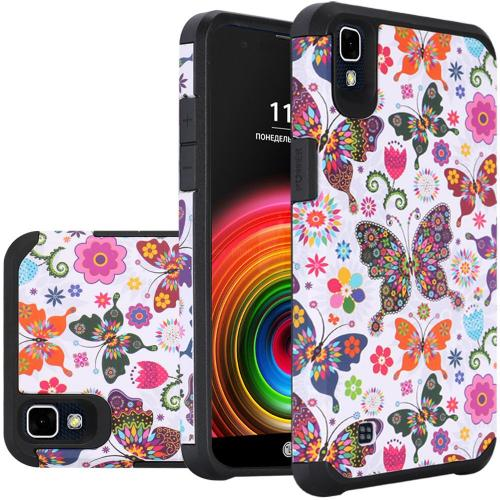 LG X Power Case, Rubberized Slim Dual layer Hybrid Hard Case on TPU Case [Colorful Butterfly Flower Polka Dot Floral]