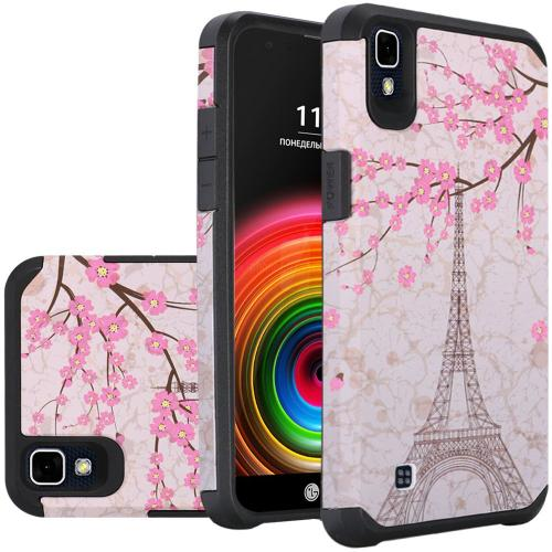 LG X Power Case, Rubberized Slim Dual layer Hybrid Hard Case on TPU Case [White Vintage Eiffel Tower Paris]