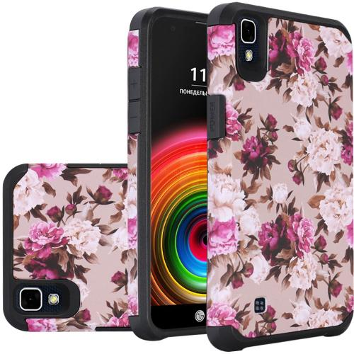 LG X Power Case, Rubberized Slim Dual layer Hybrid Hard Case on TPU Case [Pink White Roses Floral]