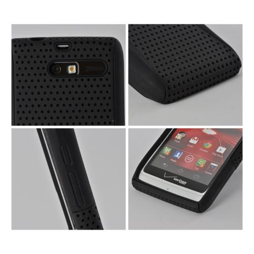Black Mesh on Black Rubberized Hard Case on Silicone for Motorola Droid RAZR M