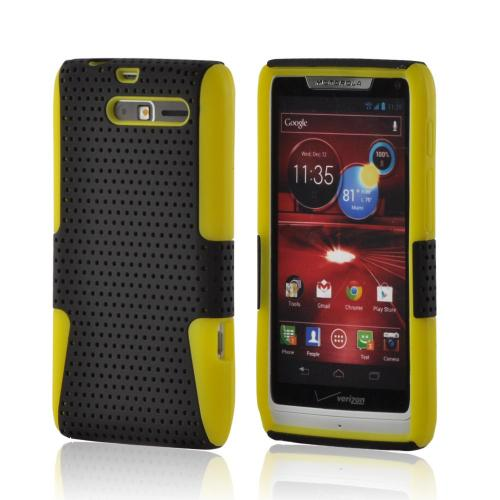 Black Mesh on Yellow Rubberized Hard Case on Silicone for Motorola Droid RAZR M