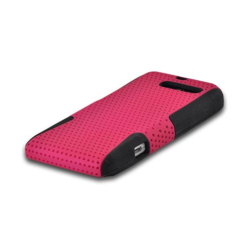 Hot Pink Mesh on Black Rubberized Hard Case on Silicone for Motorola Droid RAZR M