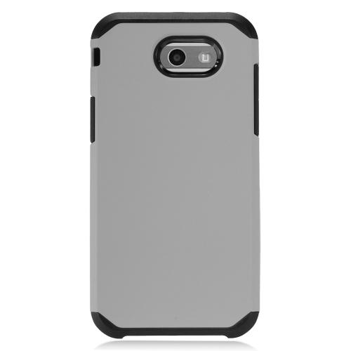 Samsung Galaxy J3 Emerge Case, Rubberized Hybrid Hard Case on TPU [Gray/ Black]