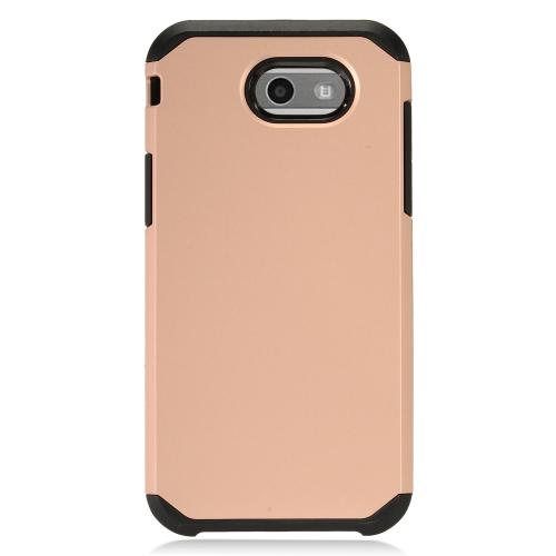 Samsung Galaxy J3 Emerge Case, Rubberized Hybrid Hard Case on TPU [Rose Gold/ Black]