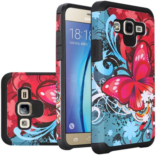 Samsung Galaxy On5 Case, Rubberized Slim Dual layer Hybrid Hard Case on TPU Case [Butterfly Bliss]