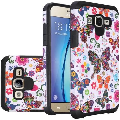 Samsung Galaxy On5 Case, Rubberized Slim Dual layer Hybrid Hard Case on TPU Case [Colorful Butterfly Flower Polka Dot Floral]