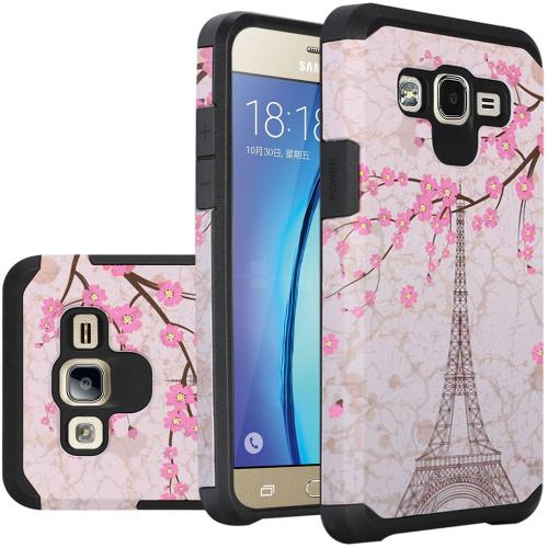 Samsung Galaxy On5 Case, Rubberized Slim Dual layer Hybrid Hard Case on TPU Case [White Vintage Eiffel Tower Paris]