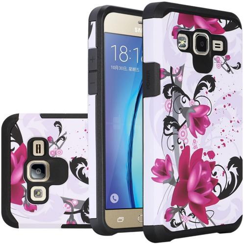 Samsung Galaxy On5 Case, Rubberized Slim Dual layer Hybrid Hard Case on TPU Case [Purple Lily]
