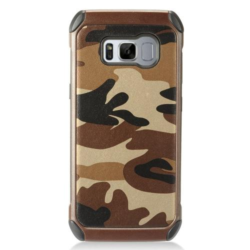 Samsung Galaxy S8 Case, Rubberized Slim Dual layer Hybrid Hard Case on TPU Case [Brown Camouflage]