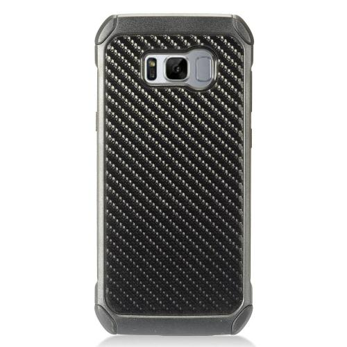 Samsung Galaxy S8 Plus Case, Rubberized Slim Dual layer Hybrid Hard Case on TPU Case [Carbon Fiber Design]