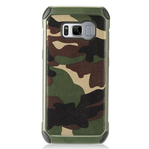 Samsung Galaxy S8 Plus Case, Rubberized Slim Dual layer Hybrid Hard Case on TPU Case [Green Camouflage] with Travel Wallet Phone Stand