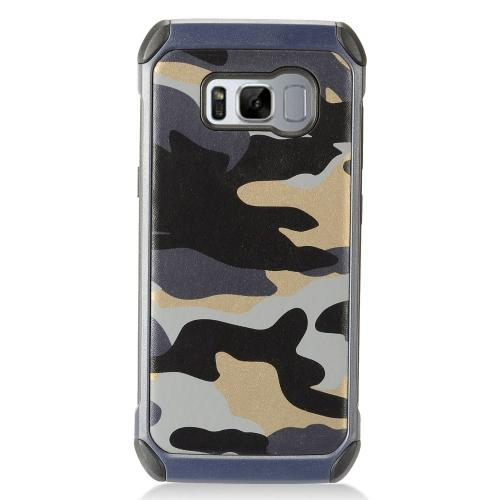 Samsung Galaxy S8 Plus Case, Rubberized Slim Dual layer Hybrid Hard Case on TPU Case [Gray Camouflage] with Travel Wallet Phone Stand