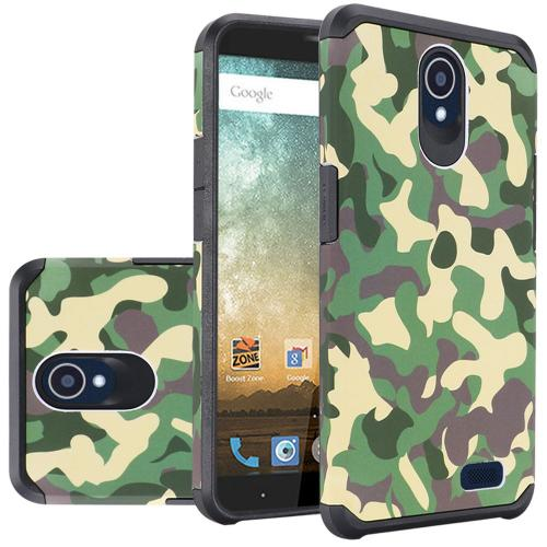 ZTE Avid Trio Case, Rubberized Slim Dual layer Hybrid Hard Case on TPU Case [Camouflage Green]