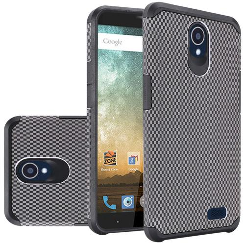 ZTE Avid Trio Case, Rubberized Slim Dual layer Hybrid Hard Case on TPU Case [Carbon Fiber Design]