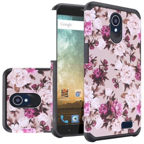 ZTE Avid Trio Case, Rubberized Slim Dual layer Hybrid Hard Case on TPU Case [Pink White Roses Floral]