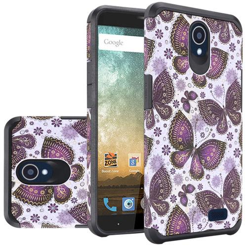 ZTE Avid Trio Case, Rubberized Slim Dual layer Hybrid Hard Case on TPU Case [Violet Butterfly Flower Polka Dots Mandala]