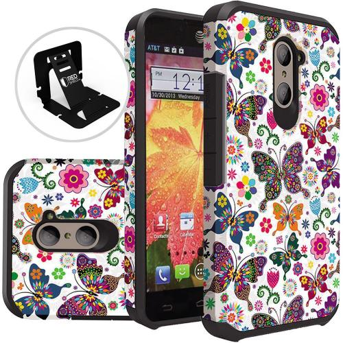 ZTE Z Max Pro Case, Rubberized Slim Dual layer Hybrid Hard Case on TPU Case [Colorful Butterfly Flower Polka Dot Floral]