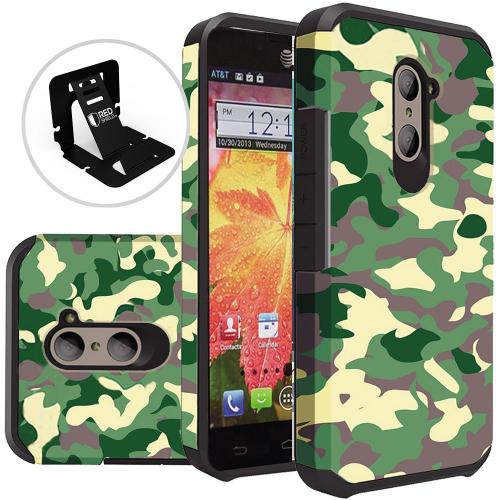 ZTE Z Max Pro Case, Rubberized Slim Dual layer Hybrid Hard Case on TPU Case [Camouflage Green]