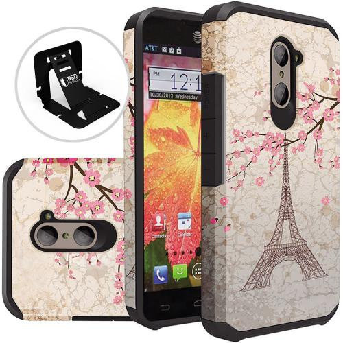 ZTE Z Max Pro Case, Rubberized Slim Dual layer Hybrid Hard Case on TPU Case [White Vintage Eiffel Tower Paris]