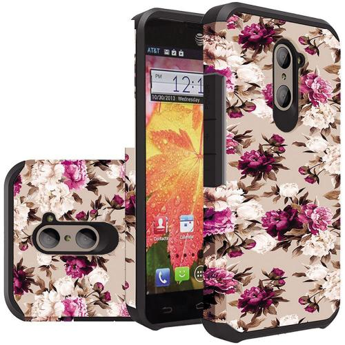 ZTE Z Max Pro Case, Rubberized Slim Dual layer Hybrid Hard Case on TPU Case [Pink White Roses Floral]