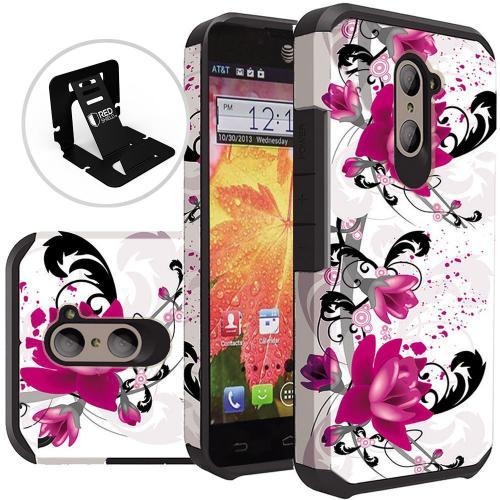 ZTE Z Max Pro Case, Rubberized Slim Dual layer Hybrid Hard Case on TPU Case [Purple Lily]