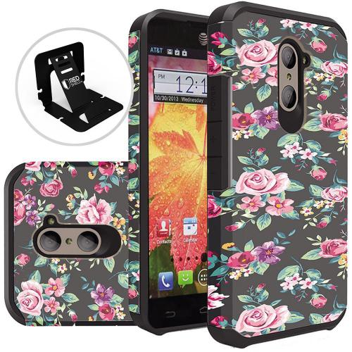 ZTE Z Max Pro Case, Rubberized Slim Dual layer Hybrid Hard Case on TPU Case [Tropical Romantic Colorful Roses]