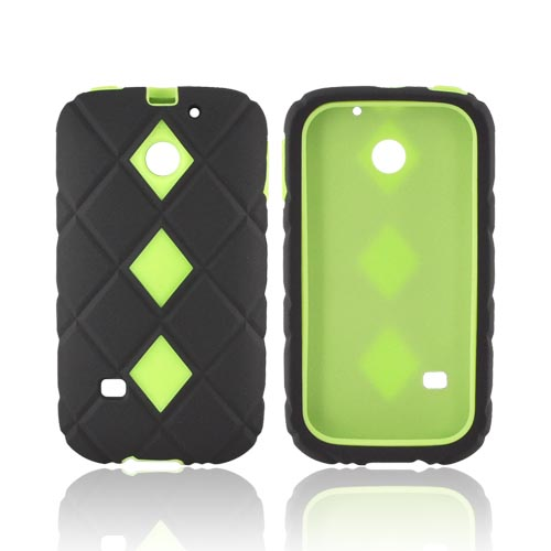 Huawei Ascend 2 M865 Hard Case w/ Silicone Case - Lime Green/ Black