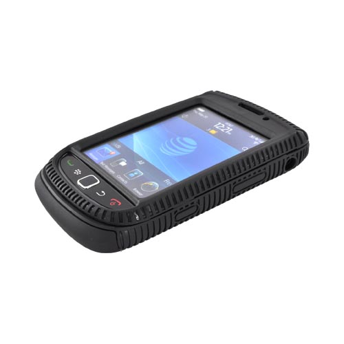 Blackberry Torch 9800 Hard Back Over Crystal Silicone Case - Black (BACK COVER ONLY)