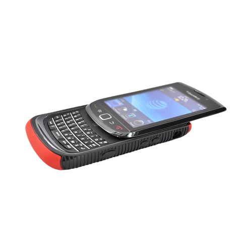 Blackberry Torch 9800 Hard Back Over Crystal Silicone Case - Black/Red (BACK COVER ONLY)