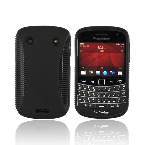 Blackberry Bold 9900, 9930 Hard Back Over Crystal Silicone - Black