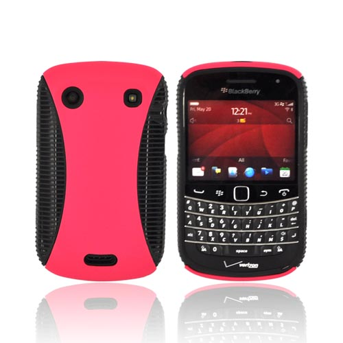 Blackberry Bold 9900, 9930 Hard Back Over Crystal Silicone - Hot Pink/ Black