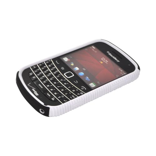 Blackberry Bold 9900, 9930 Hard Back Over Crystal Silicone - White/ Black