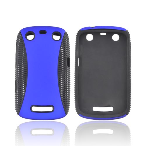 Blackberry Curve 9360 Rubberized Hard Back Over Crystal Silicone - Blue/ Black