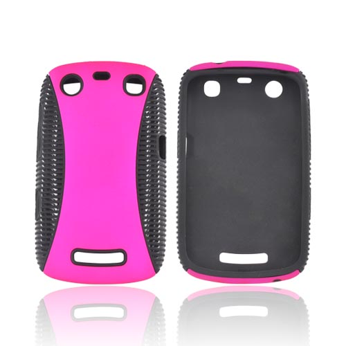 Blackberry Curve 9360 Rubberized Hard Back Over Crystal Silicone - Hot Pink/ Black