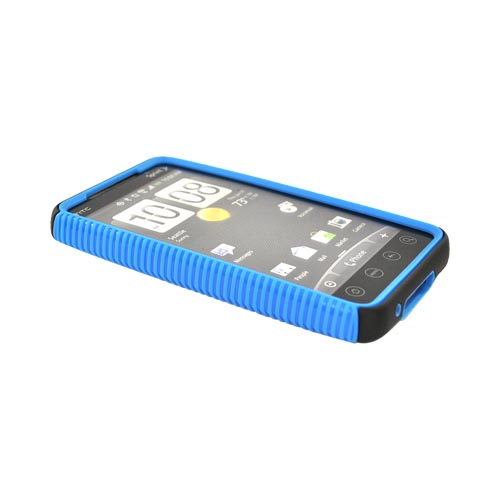 HTC EVO 4G Hard Back Over Crystal Silicone Case - Black/Blue