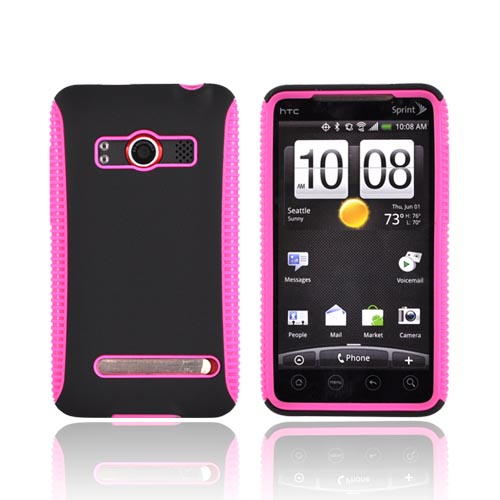 HTC EVO 4G Hard Back Over Crystal Silicone Case - Black/Hot Pink