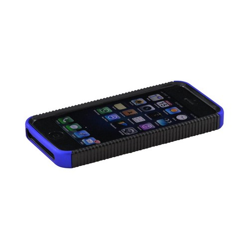 Apple iPhone SE / 5 / 5S  Case,  [Blue/ Black]  Hard Back Over Crystal Silicone Case