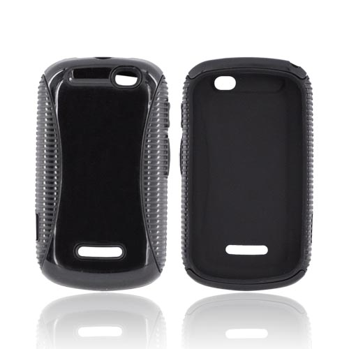 Motorola Clutch+ i475 Hard Back Over Crystal Silicone Case - Black