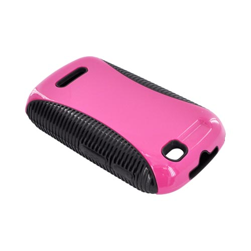 Motorola Clutch+ i475  Hot Pink Hard Back Over Black Crystal Silicone Case