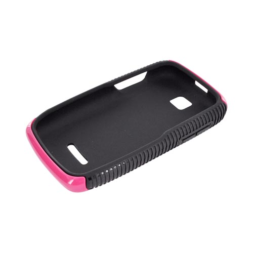 Motorola Theory Hard Back Over Crystal Silicone Case - Hot Pink/ Black