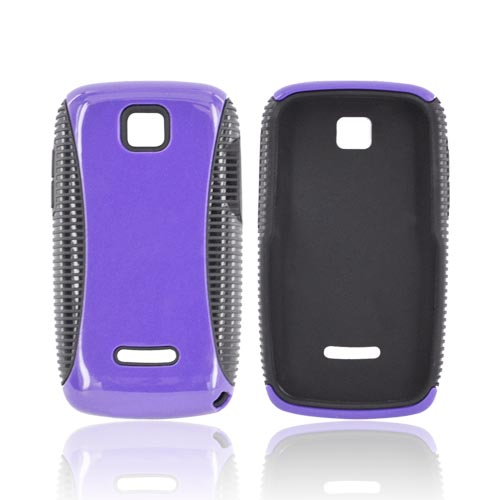 Motorola Theory Hard Back Over Crystal Silicone Case - Purple/ Black