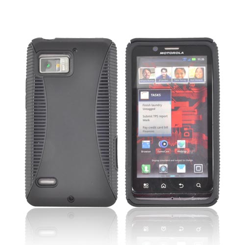 Motorola Droid Bionic XT875 Rubberized Hard Back Over Crystal Silicone - Black