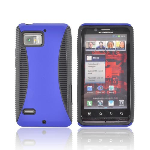 Motorola Droid Bionic XT875 Rubberized Hard Back Over Crystal Silicone - Blue/ Black