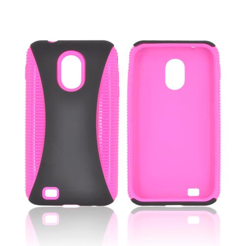 Samsung Epic 4G Touch Rubberized Hard Back Over Crystal Silicone - Black/ Hot Pink