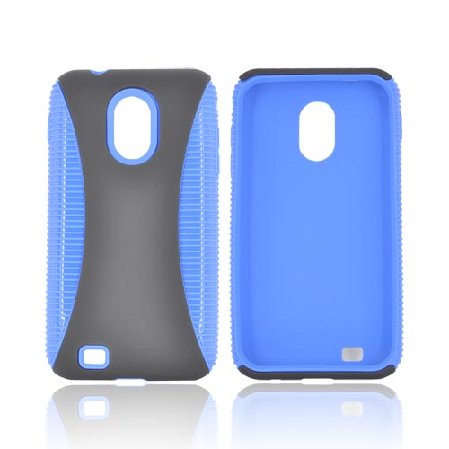 Samsung Epic 4G Touch Hard Back Over Crystal Silicone Case - Blue/ Black